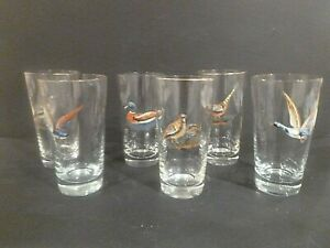 Vintage Set 6 Glasses Highball Game Birds Hand Painted 3D Raised Water Fowl Fine