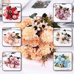 15 Heads Artificial Silk Hydrangea Fake Flowers Bouquet Bunch Party Home Decor
