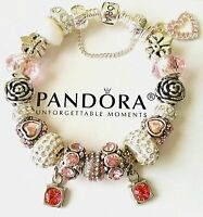 New Authentic PANDORA Sterling Silver Bracelet with European Charm Beads  #14