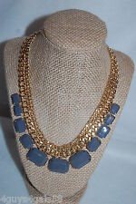 """Necklace COSTUME JEWELRY Gold Tone Chain 18"""" GRAY BEADS Rectangle LIGHT WEIGHT"""