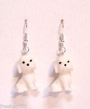 "NEW White Bichon Frise Puppies 1"" Mini Figures Figurines Dangle Earrings"