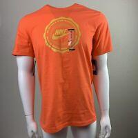 NWT Nike Men's Orange Spell out Graphic Tee Tshirt Sz M Medium