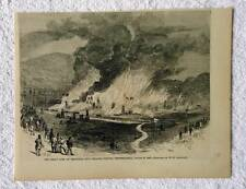 1866 HARPERS WEEKLY PRINT GREAT OIL FIELD FIRE VENANGO COUNTY PENNSLYVANIA #D