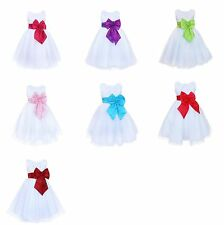 Girls Colour Rose Bow Dress Flower Princess Formal Party Wedding Bridesmaid