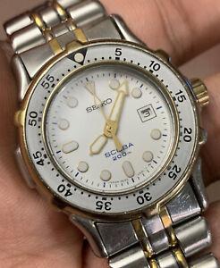 1988 Seiko Scuba Diver 200M Quartz Ladies Vintage Watch 3E25-0A30