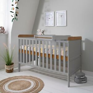 New Tutti Bambini Rio Cot Bed dove Grey & oak with cot top changer and mattress