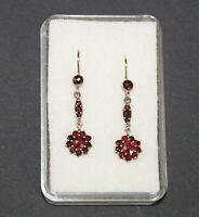 Antike Ohrringe mit dunkelroten Böhmischen Granaten  (# 12874)