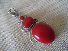 925 STERLING SILVER RED CORAL PENDANT 2 3/8""