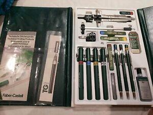 Faber Castell TG 1 S Pens XF TK Fine Pencils Vintage Technical Set EUC w. Case