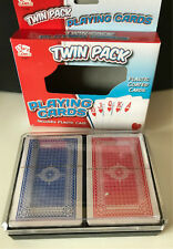 TWIN PACK OF PLASTIC COATED PLAYING CARDS IN PLASTIC CASE - RED & BLUE - POKER