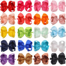 20pc 6inch Bow Baby Headbands Solid Ribbon Big Hair Bows for Infant Newborn Girl