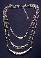 Punky Plata Metal Tres Cadena & Curva conjunto Ajustable Collar de Declaración (cl31)