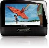 "Philips PD9012 Portable DVD Player 9"" W/Headrest Mounting Straps & Car Charger"