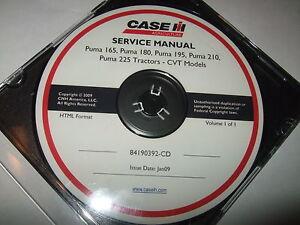 CASE IH PUMA 165 180 195 210 225 TRACTORS CVT MODELS SERVICE SHOP REPAIR MANUAL
