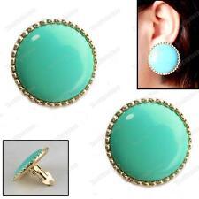 A Clip GRANDE 3cm rotonda Orecchini Retro Blu Verde Turchese Oro PLT Vintage Chic