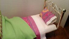 4 pc bedding/afghan/ I have  made for 18 inch American Girl doll bed