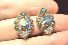 vintage iridescent blue Austrian crystal diamond shaped clip on earrings Austria