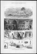 1876 Antiguo Imprimir-Ee. UU. Nueva York Infierno-Gate rocas explosión de minas (240)