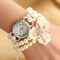 Sweet Multilayer Pearl Chain Crystal Bracelet Bangle Quartz Wristwatch Girl Gift