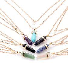 Collar Cadena Capa Doble Gargantilla Ahogador Colgante Cristal Piedra Necklace