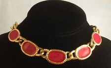 Vintage Red Enamel Chunky Necklace By Napier 1980's