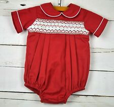 Infants BUBU Ninos Sz 3M Red White Green s/s Smocked One Piece Bubble Romper