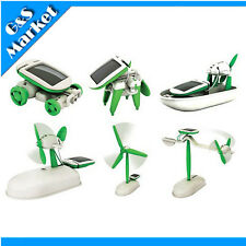 6-In-1 Solar Power DIY Toy Robots Helicopter Plane Educational Children Kid Gift