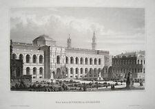 Dresden das neue Museum   Sachsen echter alter Stahlstich 1850