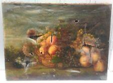 TABLEAU NATURE MORTE 73 / 54cm début 19ème XIXème still life signé à restaurer