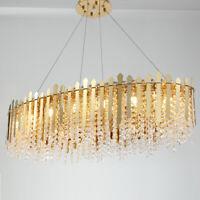 Modern Luxury Long Gold Crystal Metal Chandelier Pendant Light Home Decor Lamp