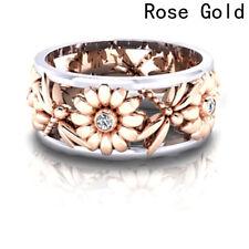 FashionFloral Sunflower Ring Diamond Rose Gold Flower Bridal Rings Wedding Rings