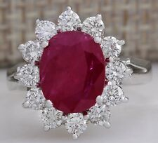 4.03CTW NATURAL RED RUBY DIAMOND RING 14K SOLID WHITE GOLD