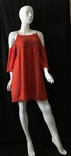 FRANCESCA'S Crochet Rust Open Sleeve Knee Length Dress