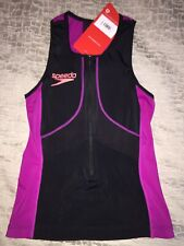 M Speedo Women's Fastskin Xenon Tri Singlet Top Black Swim Suit Nwt $95
