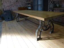 grande table industrielle en fer et chêne sur mesure possible salle à manger