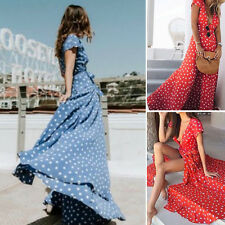 New Fashion Women Polka Dot Dress Short Sleeve V Neck Long Beach Sundress Dress