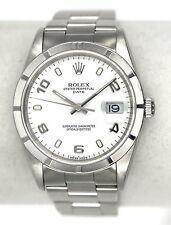 ROLEX OYSTER PERPETUAL DATE 15210 WATCH ENGINE TURNED BEZEL SS BOX PAPERS 2005