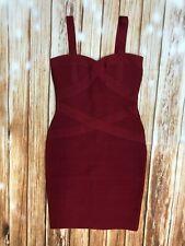 HERVE LEGER Bodycon Bandage Cocktail Dress WINE Mini C50 XS/S