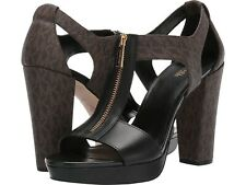 Michael Kors Womens Berkley Leather Open Toe Sandals Brown/Black Size 9.5