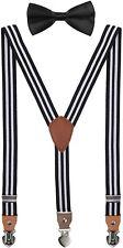 SUNNYTREE Men's Boys' Suspenders Adjustable Y Back Bow Tie Set for Wedding 1-3yr