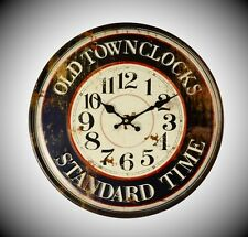 Station Uhr Wand Uhr AN IRON CLOCK Antik Deko Vintage Mobiliar & Interieur