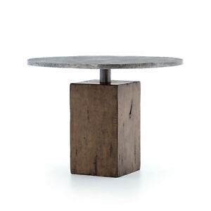"""42"""" L Elido Bistro Table Dining Old Wood Aluminum Weathered Hickory Light Gunme"""