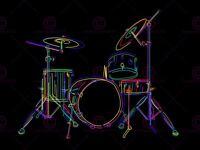 Painting Illustration Colourful Drum Kit Music Instrument Canvas Art Print