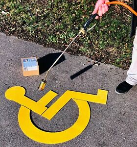 DISABLED WHEELCHAIR PARKING SPACE ROAD MARKING YELLOW TARMAC CONCRETE 80cm sq.