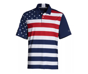 Walter Hagen Golf Polo Mens Small New USA Folds of Honor Striped Flag Navy Blue