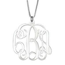 LARGE .925 Sterling Silver Custom Large Fancy Letter Monogram Pendant Necklace