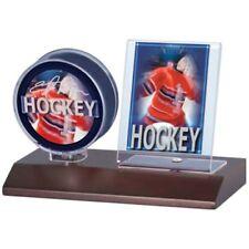 5 (five) Ultra Pro Wood Base Hockey Puck & Card Holders Display Case