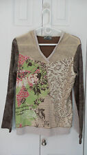 Vanilla Sugar Pullover Glitter Hooded Floral Print Long Sleeve Shirt Size Small