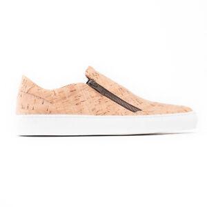 Vegan Sneakers Sportshoe Zip Nickel Free on Organic Cork Fabric Breathable Lined