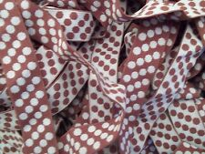 FOLDOVER Elastic 1 inch Chocolate Brown Polka Dots Matte Plush 5 yds Diapers Rev
